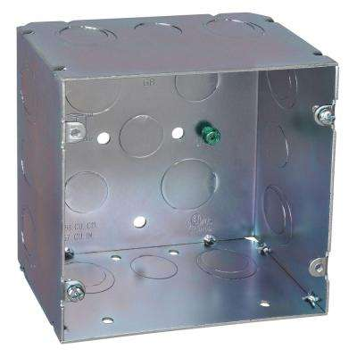 2-Gang 5 in. New Work Metal Square Electrical Box with 1/2 in. and 3/4 in. Knockouts (20 per Case)
