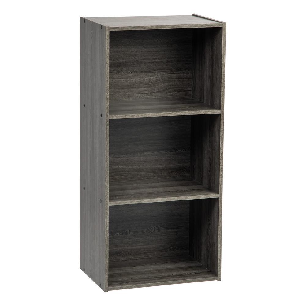 Gray 3-Tier Basic Wood Bookcase Storage Shelf
