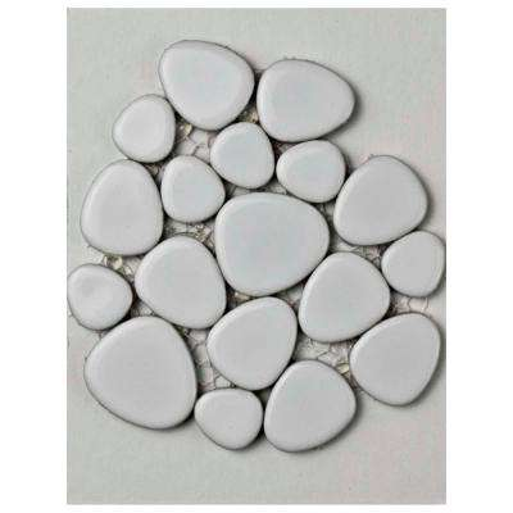 Pebble White Porcelain Mosaic Tile - 3 in. x 4 in. Tile Sample
