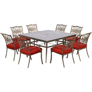 Hanover Traditions 9-Piece Aluminum Outdoor Dining Set with Square Glass-Top Table and Swivel Chairs with Red... by Hanover
