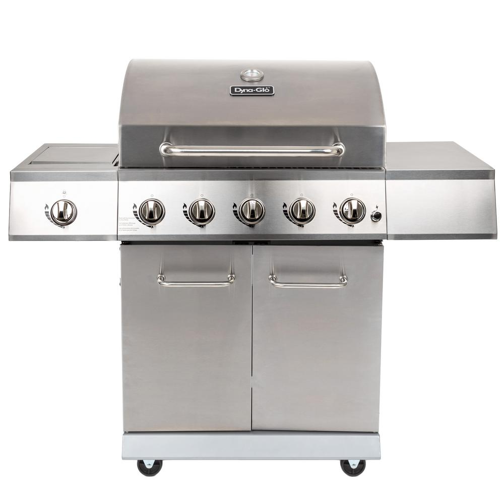 DynaGlo Dyna-Glo 5-Burner LP Propane Gas Grill in Stainless Steel with Side Burner, Silver