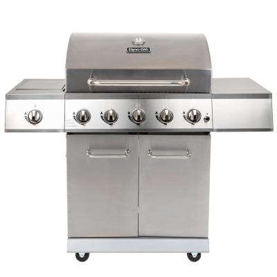 5-Burner LP Propane Gas Grill in Stainless Steel with Side Burner