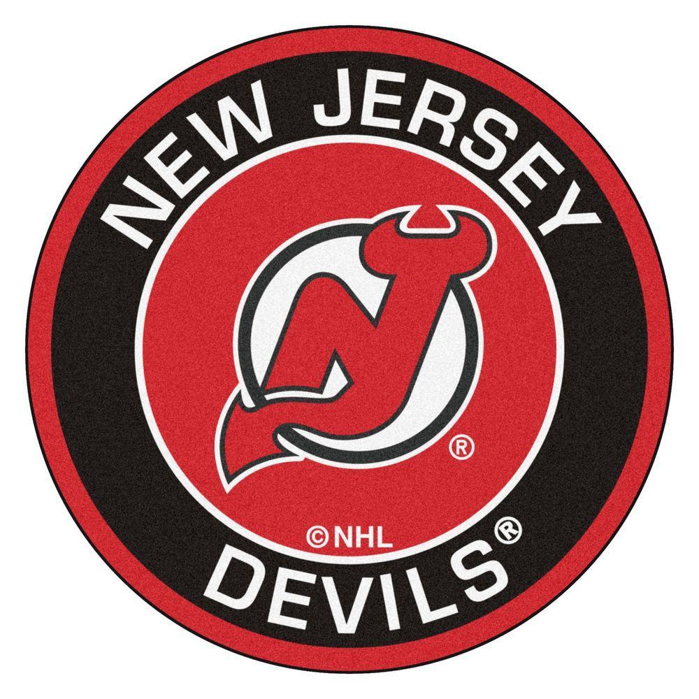 NHL New Jersey Devils Black 2 ft. x 2 ft. Round Area Rug