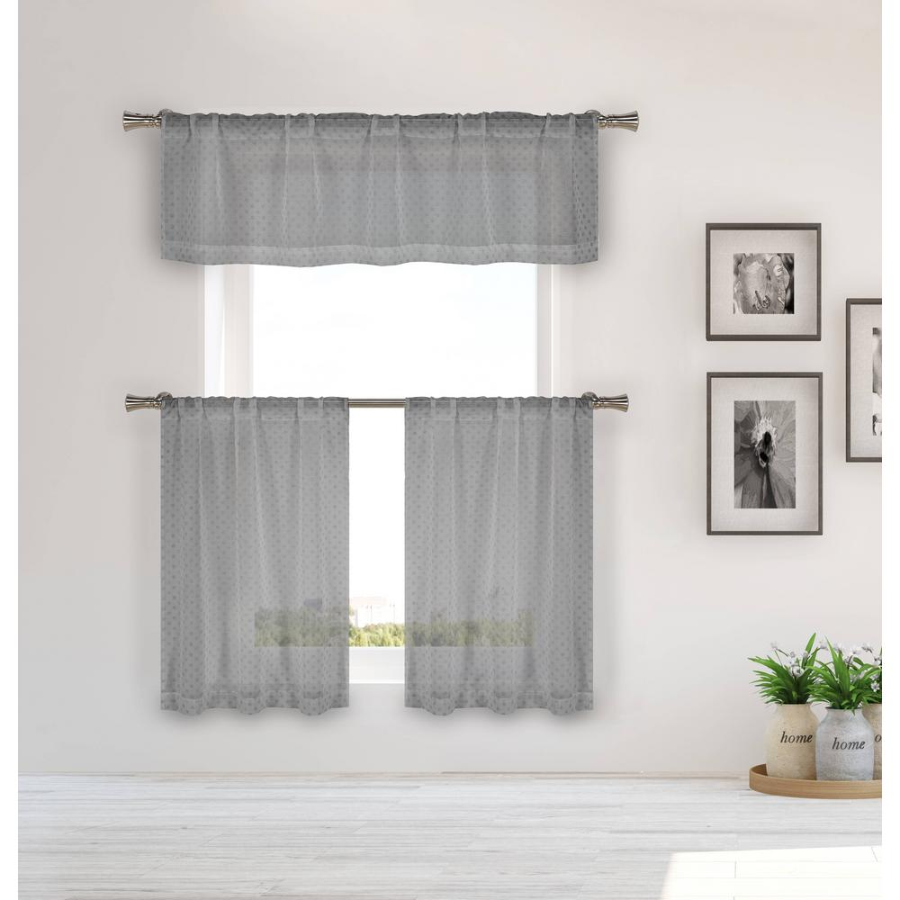 HOME MAISON Elara Silver Kitchen Curtain Set - 56 in. W x 15 in. L in (3-Piece)
