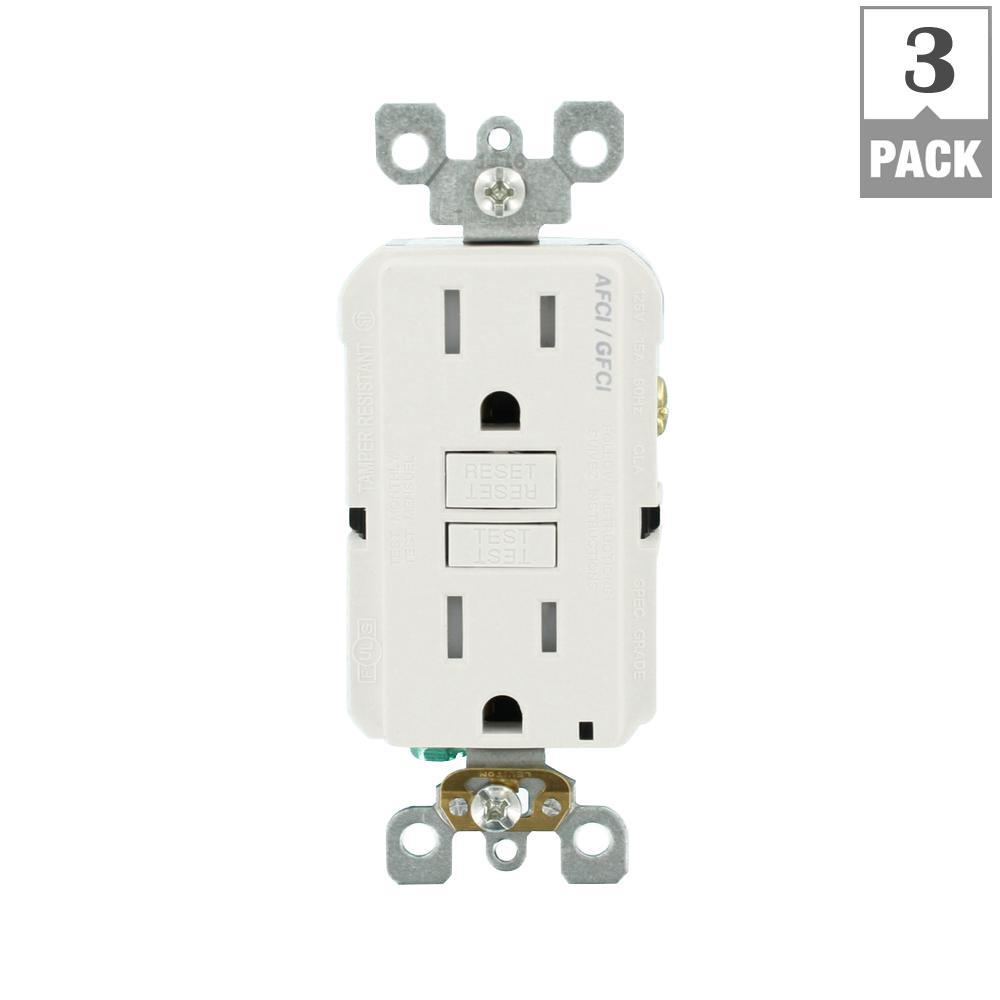 15 Amp 125-Volt AFCI/GFCI Dual Function Outlet, White (3-Pack)
