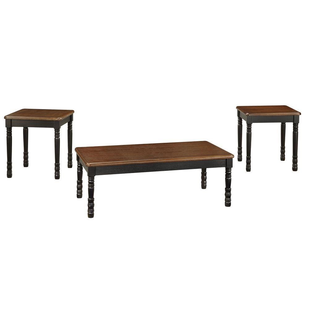 HomeSullivan Two Tone Antique Black Coffee Table with End Occasional Set (3-Piece)-DISCONTINUED