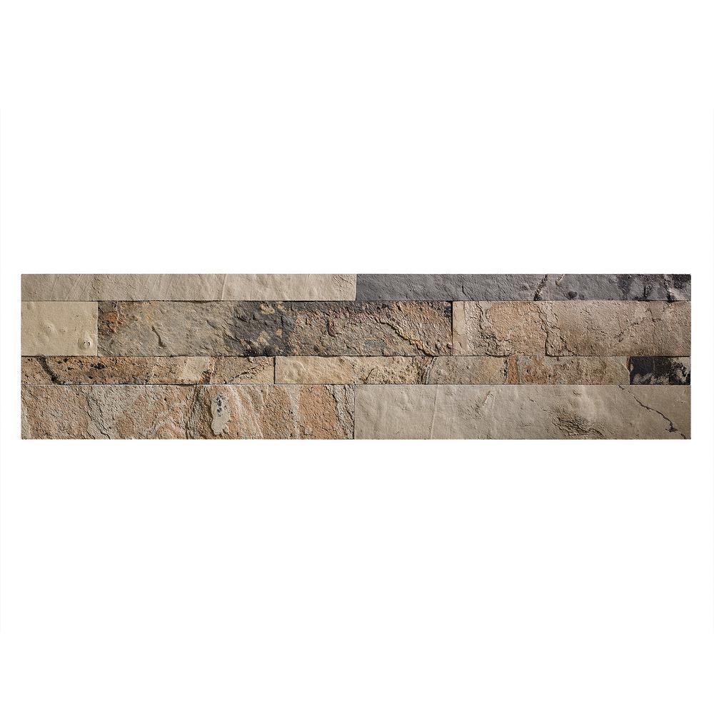 23.6 in. x 5.9 in. Medley Slate Peel and Stick Stone Decorative Tile Backsplash
