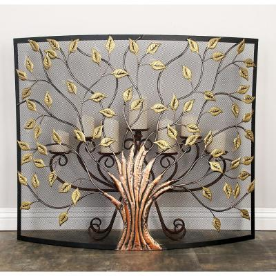 Rustic 1-Panel Fireplace Screen with Tree and Leaf Cut-Outs