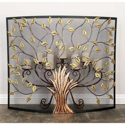 Astonishing Rustic 1 Panel Fireplace Screen With Tree And Leaf Cut Outs Home Interior And Landscaping Ologienasavecom