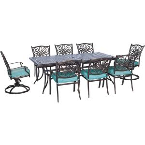 Hanover Traditions 9-Piece Outdoor Rectangular Patio Dining Set and 2 Swivel Rockers with... by Hanover