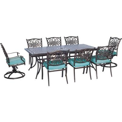 Traditions 9-Piece  Aluminum Outdoor Rectangular Patio Dining Set and 2 Swivel Rockers with Blue Cushions