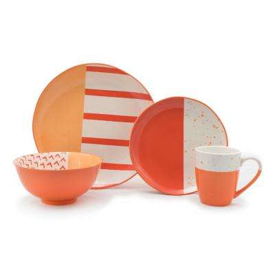 16 Piece Orange Bliss Dinnerware Set