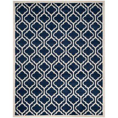 8 X 10 Trellis Blue Outdoor Rugs Rugs The Home Depot