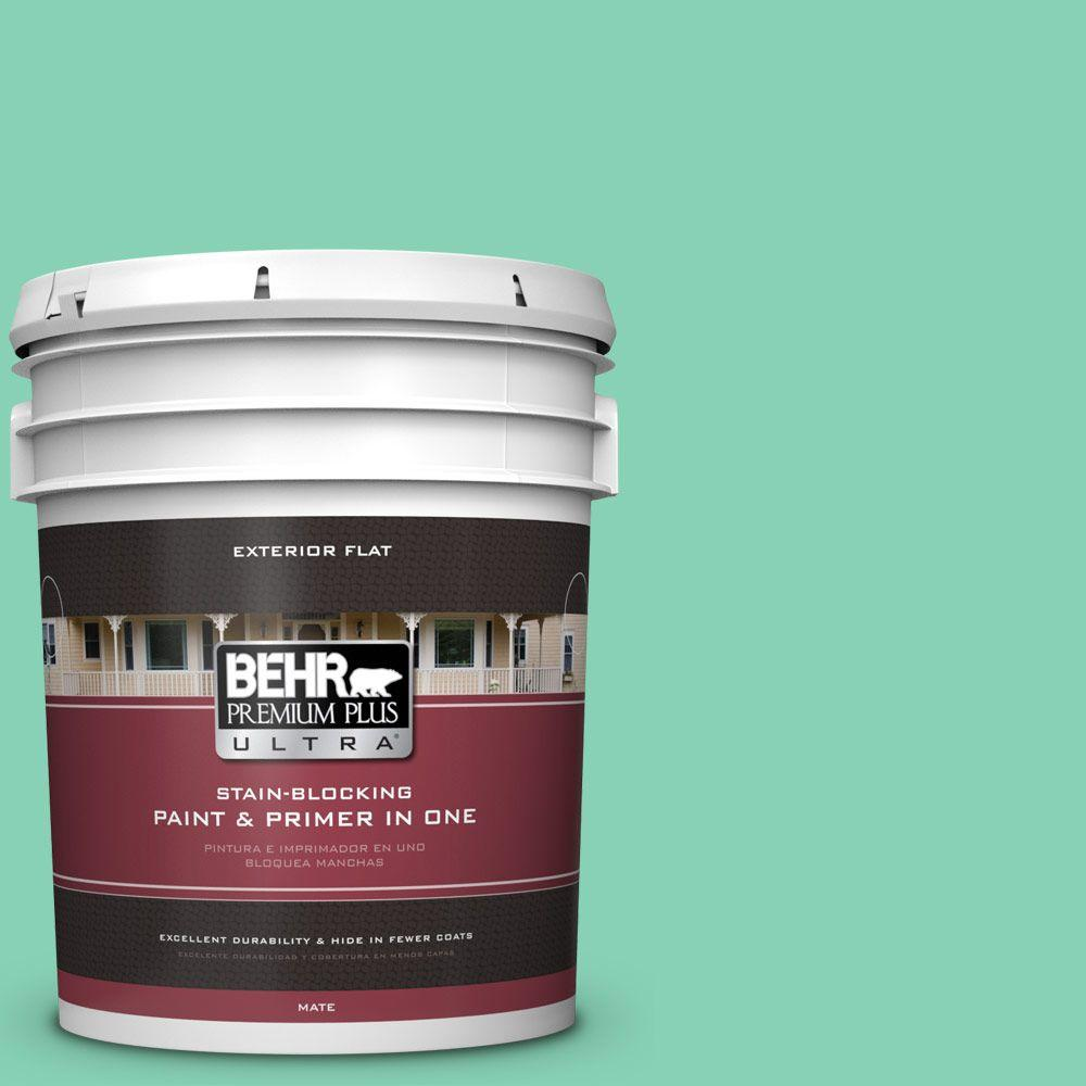 BEHR Premium Plus Ultra 5-gal. #P420-3 Tropical Trail Flat Exterior Paint, Greens