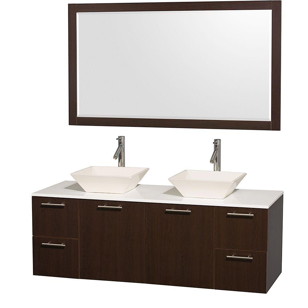 Amare 60 in. Double Vanity in Espresso with Man Made Stone
