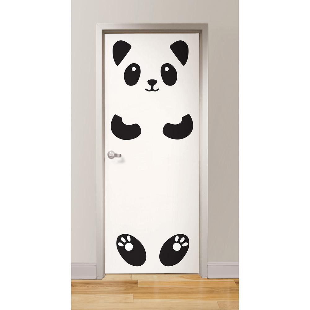 Superieur WallPOPs Black Lucy The Panda Door Decal
