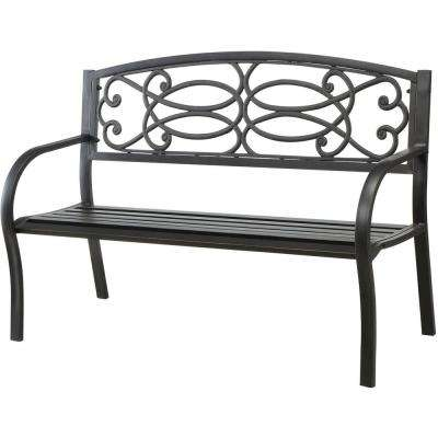 Potter 50 in. 2-Person Black Outdoor Bench