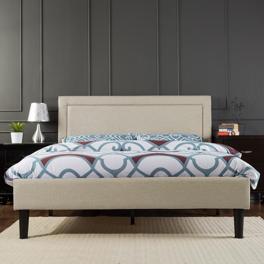 Zinus Mckenzie Upholstered Detailed Platform Bed with Wooden Slats, Full