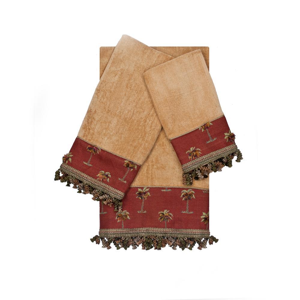 Tropicana Red Gold Decorative Embellished Towel Set (3-Piece)