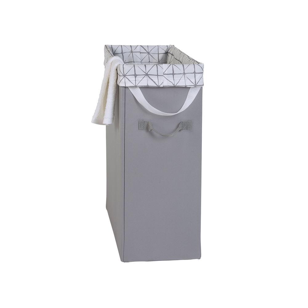 Grey Slim Space-Saving Laundry Hamper