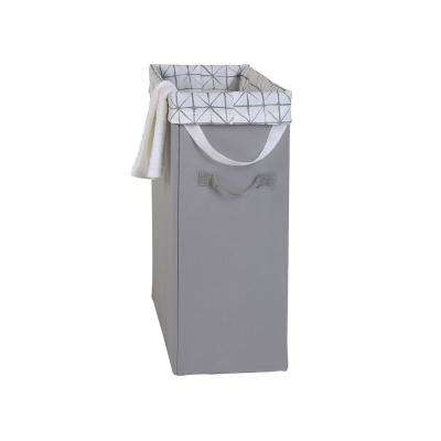 Grey Slim Space-Saving Laundry Hamper