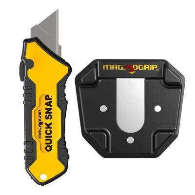 Quick Snap Slide Open Utility Knife with Universal Magnetic Holder