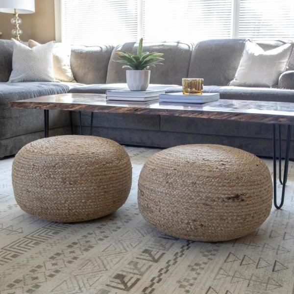Decor Therapy Pouf Natural Woven Ottoman Fr7466 The Home Depot