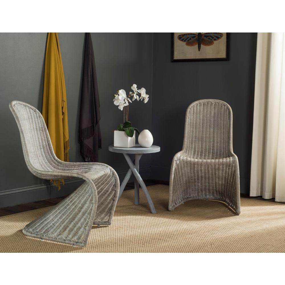 Safavieh Tana Antique Grey Rattan Dining Chair (Set of 2)  sc 1 st  The Home Depot : dining chairs wicker - Cheerinfomania.Com