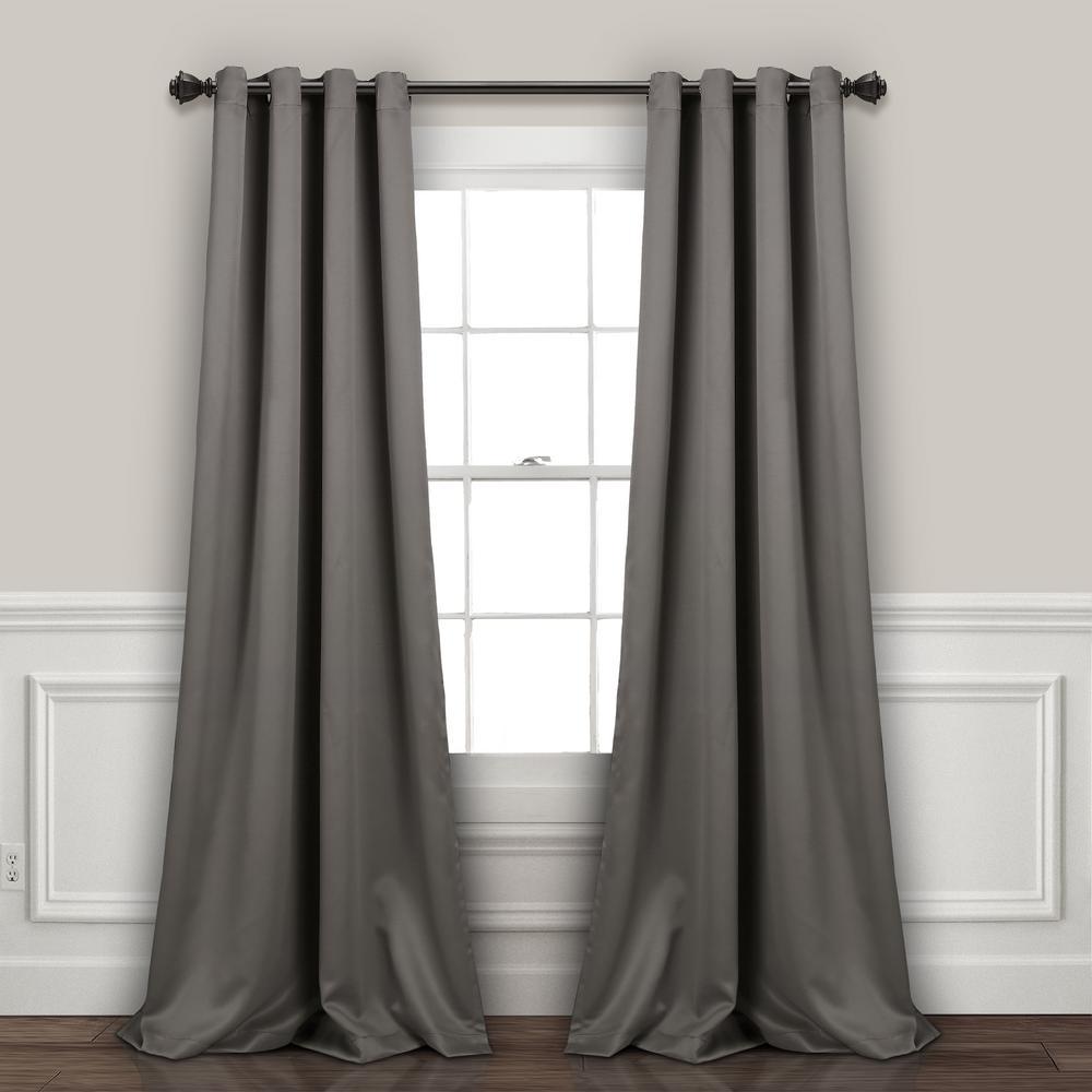 "Lush Décor Insulated Grommet Blackout Window Panels Dark Gray 84"" x 52"" 2-Pc Set 100% Polyester"