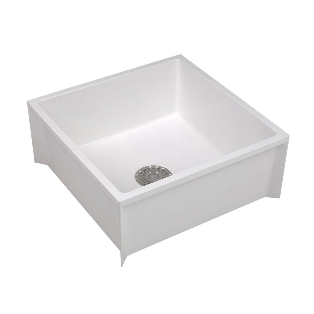 24 in. x 24 in. x 10 in. Service Mop Basin for 3 in. DWV in White