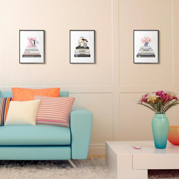 The Stupell Home Decor Grey Fashion Bookstack with Pink Flowers in Blue and White Vase Framed Giclee Texturized Art 16 x 20 Multi-Color