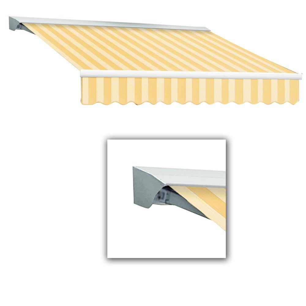 AWNTECH 16 ft. LX-Destin with Hood Left Motor/Remote Retractable Acrylic Awning (120 in. Projection) in Almond Multi