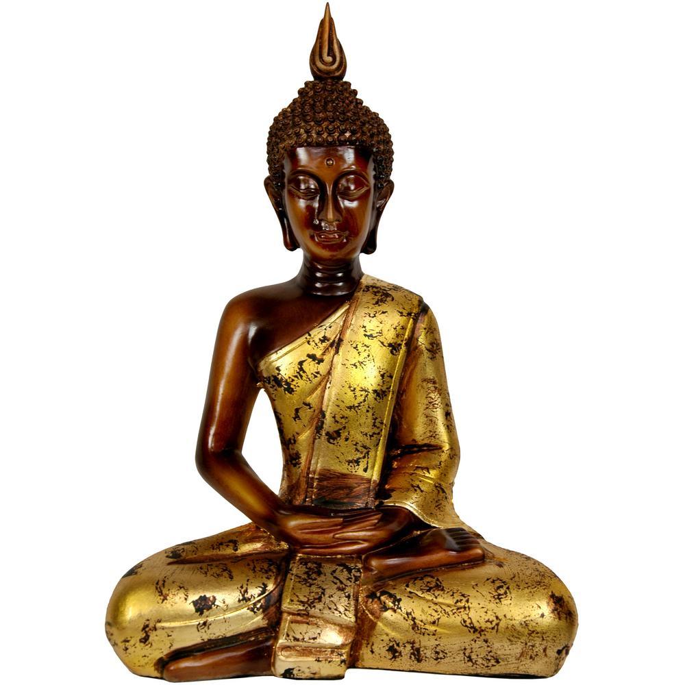 Oriental Furniture 16 in. Thai Sitting Buddha Decorative Statue