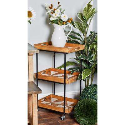 Natural Brown 3-Tier Rectangular Tray Cart with Pinwheel Design