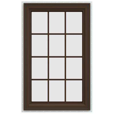 29.5 in. x 47.5 in. V-4500 Series Right-Hand Casement Vinyl Window with Grids - Brown