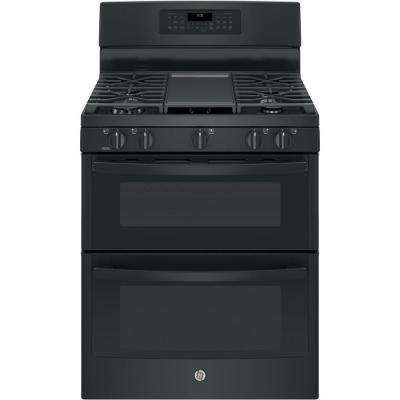 6.8 cu. ft. Double Oven Gas Range with Self-Cleaning Convection Oven (Lower Oven) in Black