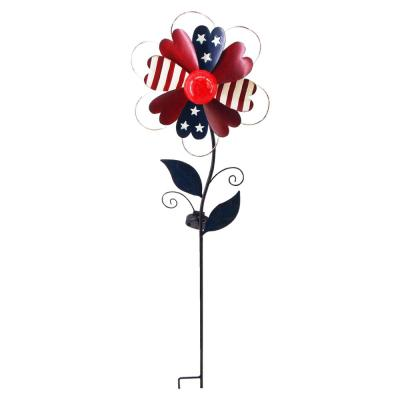 Patriotic Heart Flower Windmill Solar Stake Light