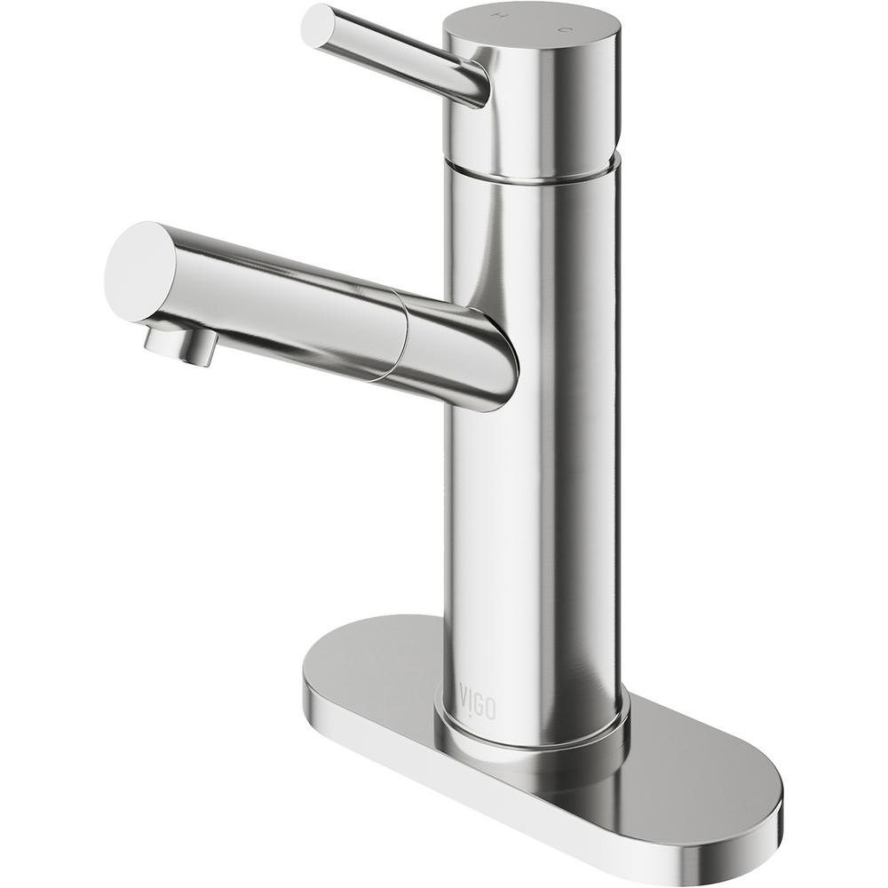 VIGO Noma Single Hole 1-Handle Bathroom Faucet in Brushed Nickel with Deck Plate