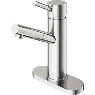 Noma Single Hole 1-Handle Bathroom Faucet in Brushed Nickel with Deck Plate