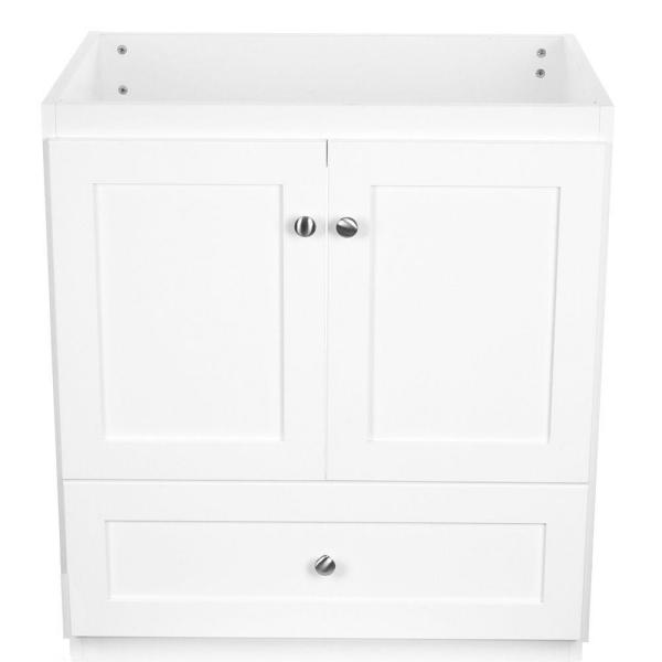 Shaker 30 in. W x 21 in. D x 34.5 in. H Vanity with No Side Drawers Cabinet Only in Satin White