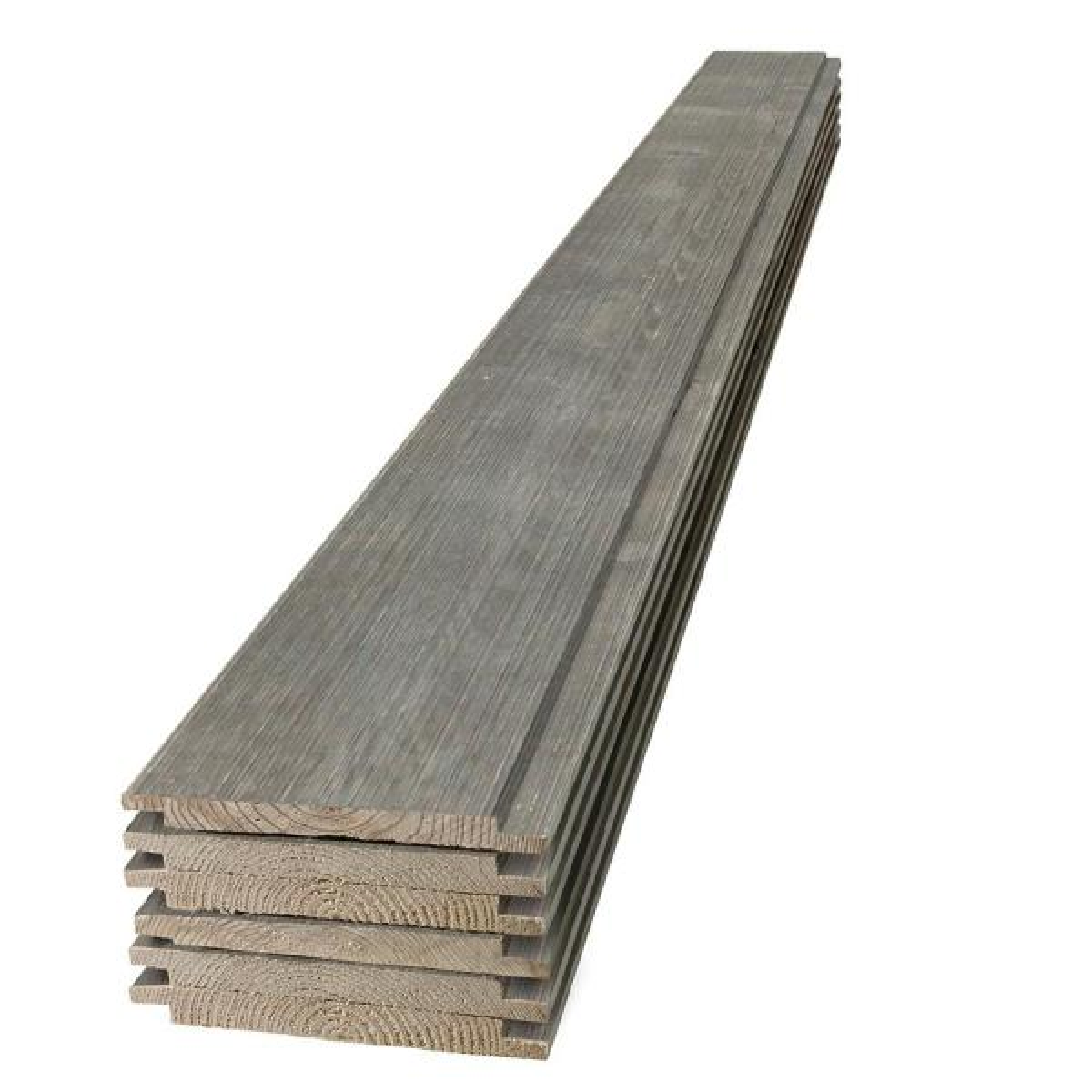 1 in. x 8 in. x 8 ft. Barn Wood Gray Shiplap Pine Board (6-Pack)