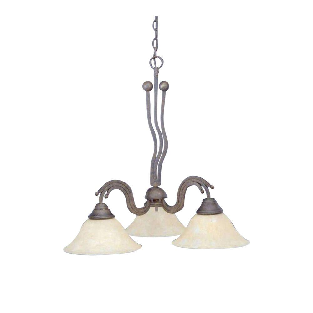 Concord Series 3-Light Bronze Chandelier with Amber Marble Glass Shade