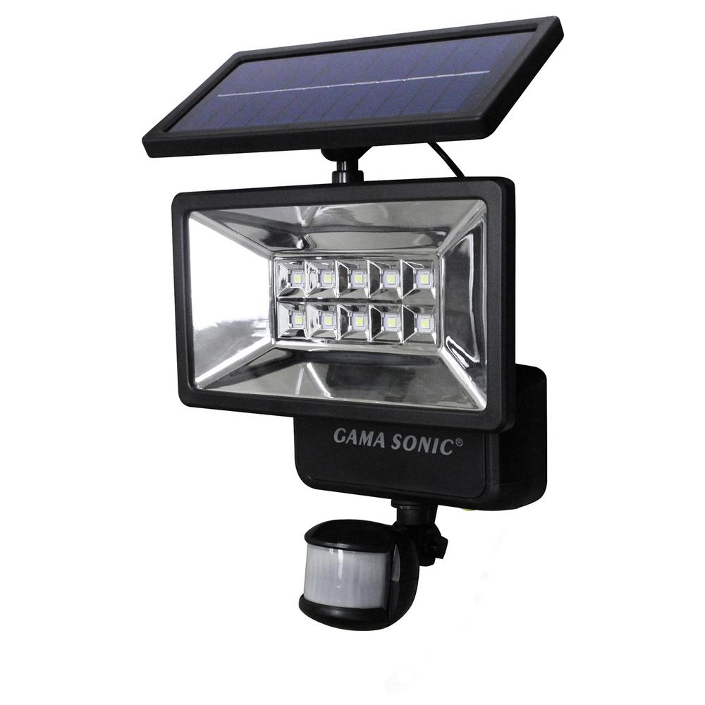 Gama Sonic 160 Black Outdoor Solar Ed Security Light With Motion Sensor