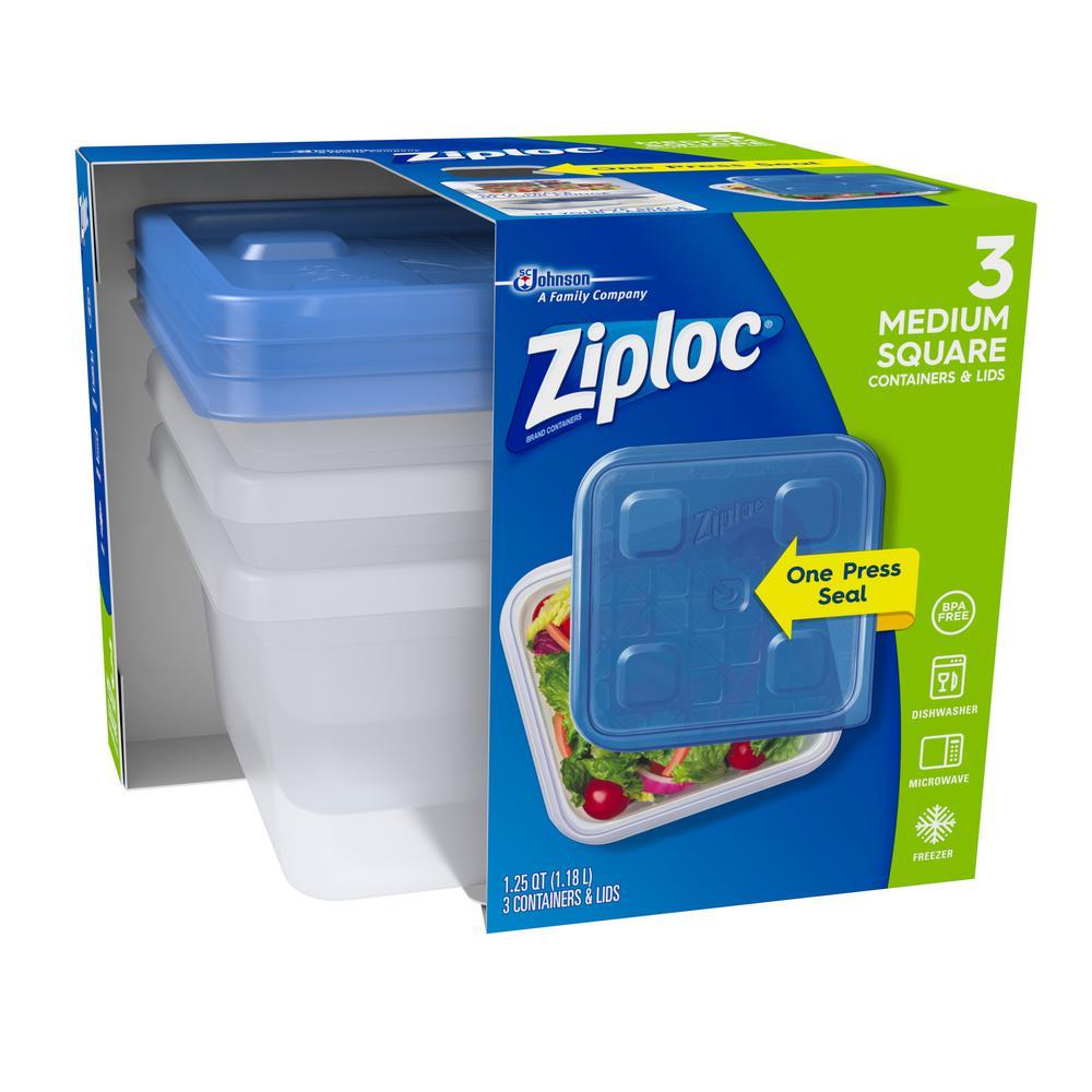 Ziploc 125 Qt Medium Square Container 650862 The Home Depot