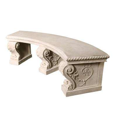Salentino 3-Person 76.5 in. W Ancient Ivory Fiberglass Crescent Outdoor Bench