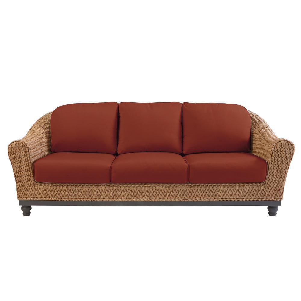Home Decorators Collection Camden Dark Brown Wicker Outdoor Patio Sofa with  Sunbrella Henna Red Cushions