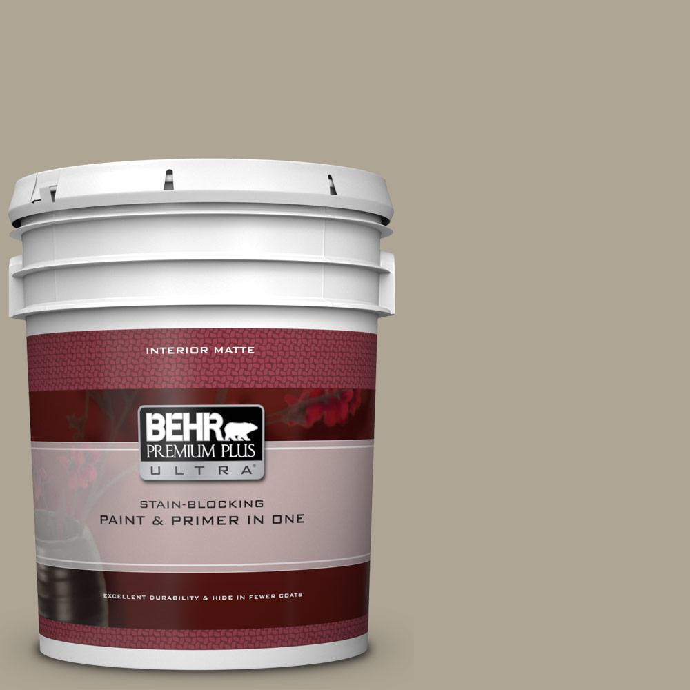Behr Premium Plus Ultra 5 Gal Ppu8 19 Stone Walls Matte Interior Paint And Primer In One 175405 The Home Depot