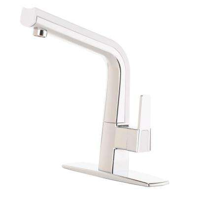 Matisse Single-Handle Standard Kitchen Faucet in Chrome and White