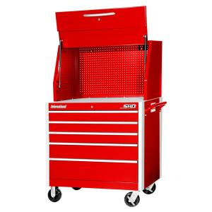 International SHD Series 42 inch 5-Drawer Tool Chest and Cabinet Combo in Red by International