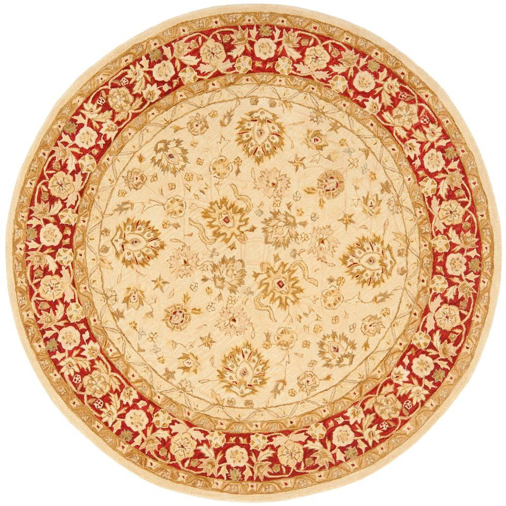 Hand Tufted Agra Red Gold Wool Rug 8 Round: Safavieh Anatolia Ivory/Red 8 Ft. X 8 Ft. Round Area Rug